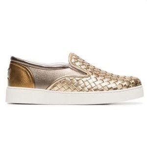 Bottega Veneta Dodger Woven Metallic Sneakers 7.5